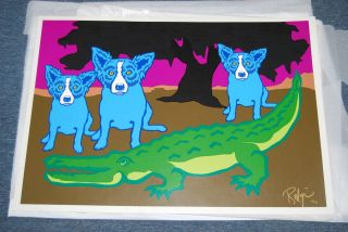 FTI George Rodrigue Blue Dog Lator Gator RARE Print 1992