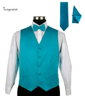 Mens Tuxedo Vest Set 4 Pieces Vest Bow Tie Handkerchief and Tie Solid