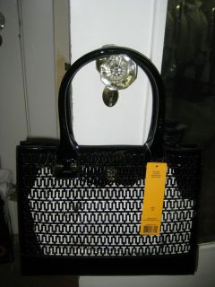 BNWT Tory Burch Mini Georgiana Perforated Black Patent Leather Tote