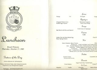 Cruise Line Royal Princess Menu 1985 Caribbean Series by Gluck