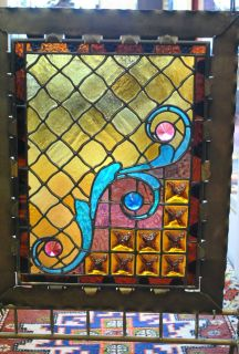 Victorian Brass Stained Glass Fireplace Screen