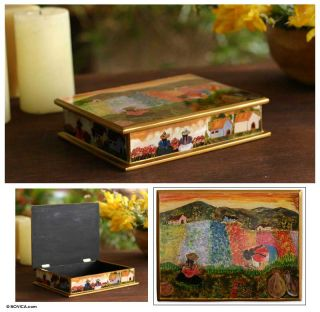 Mother Daughter Painted Glass Jewelry Box Folk Art