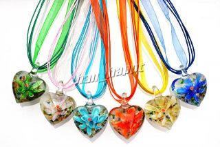 Lots 6pcs Heart Murano Glass Bead Pendant Silk Necklace Jewelry