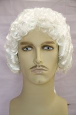 George Washington Medium Curly White Color Costume Mens Wig