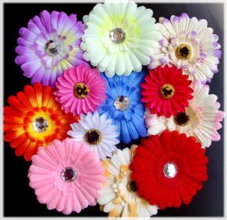 6P Gerbera Daisy Flower Hair Clip Brooch Headband