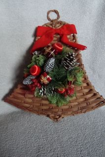 Christmas Bell Wall Door Decoration 14 x 13 Pine Cones Artificial