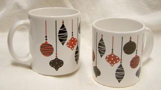 Waechtersbach Germany Christmas Mugs Set of two Ornament Coffee Mugs