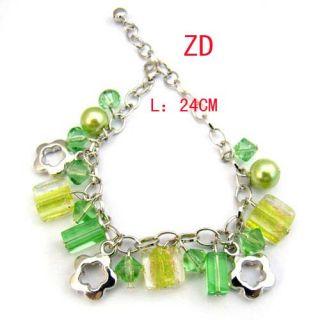 A0246 Lampwork Glass Crystal Pearl Bead Flower Bracelet
