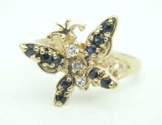 Estate 10K Yellow Gold Butterfly Sapphire Diamond Ring