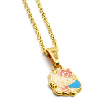 Gold 18K GF Pendant Necklace Girl Baby Kids Hello Kitty Enamel Charm