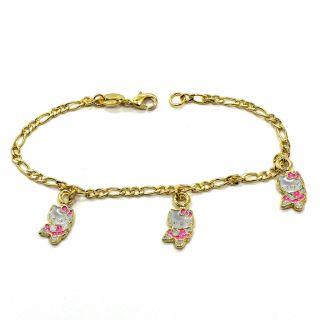 Gold 18K GF Pink Enamel Ballerina Charm Hello Kitty Bracelet Ballet 6