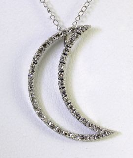 40CT DIAMOND 14K WHITE GOLD CRESCENT MOON PENDANT CABLE CHAIN NECKLAC