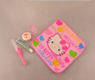 New Hello Kitty Big Soap Dish Toothbrush Towel Toothpaste Bath Set