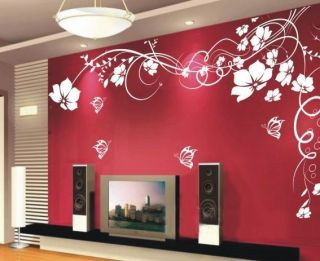 Butterfly Vine Flower Art Wall Stickers Wall Decals House Decor