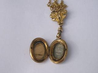 Antique Victorian Gold Filled Ornate Locket Cross Fob Necklace