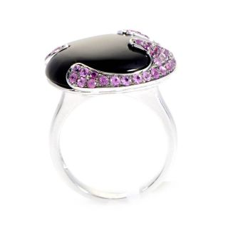 18K White Gold Onyx Pink Sapphire Ring
