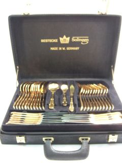 Solingen Gold Flatware Set 71 Pcs 23 24 KT Gold Plated EXC Cond