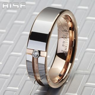 New Gift Mens Tungsten Ring Rose Gold Wedding Band 3A72