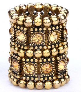 Gold Swarovski Crystal Stretch Ring Jewelry A1 2