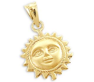 14k Yellow Gold Sun Face Pendant Charm New Detailed