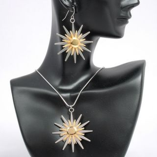 Gold Silver Sun Earrings Necklace Pendant Chain Sets