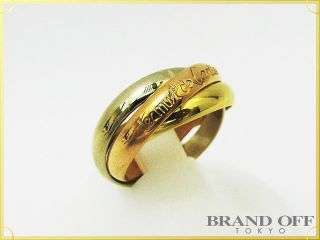 Auth Cartier 18K Tri Color Gold Trinity Ring 51