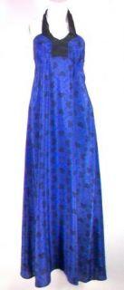 Geren Ford Long Blue Tile Kimono Halter Dress $397 XS