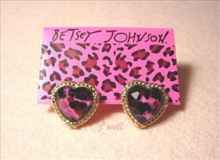 Johnson Pink Leopard Heart Gold Tone stud Earrings *Thanksgiving Gift