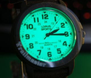 Lorus Sports Field Trailmaster Watch Lumibrite Dial Glow in Dark