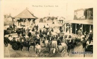 Real Photo Van Buren Arkansas Market Day Street Scene Postcard