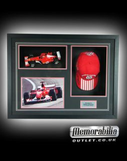 Michael Schumacher Ferrari F1 Signed Cap Car Framed World Champion COA