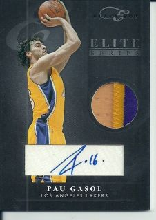 2011 12 BLACKBOX ELITE PAU GASOL AUTOGRAPH GAME USED LOGO PATCH LAKERS