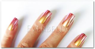 24 Pcs 2 Tone Gradient Metallic False Nail Tips Full Tips 200 1