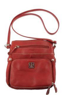 Giani Bernini New Red Leather Demi Crossbody Handbag Purse Small BHFO