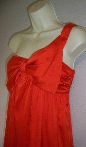 Gianni Bini Orange One Shoulder Silk Cocktail Dress 6