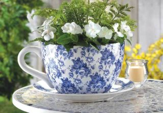 Giant Ceramic Teacup Flower Pot in Blue Rose Pattern