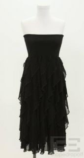 jean paul gaultier black mesh tiered strapless dress