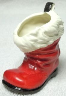 Goebel West Germany Red Porcelain Santa Boot Christmas Figurine Mini