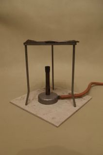 BURNER TRIPOD HEAT PROOF MAT WIRE GAUZE VINTAGE CHEMISTRY BRITISH