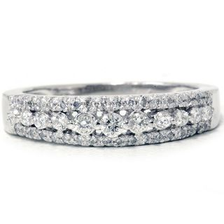 Genuine Diamond Womens Anniversary Wedding Ring 14K White Gold Band
