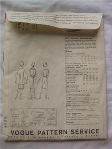 Vtg Vogue Paris Original Gies Dress Coat Sewing Pattern 1216 Uncut