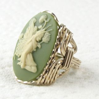 Butterfly Fairy Cameo Ring 14k Rolled Gold Jewelry