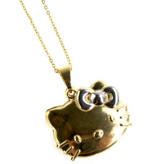 Gold 18K GF Two Tone Hello Kitty Pendant Necklace 3D Teens Girl