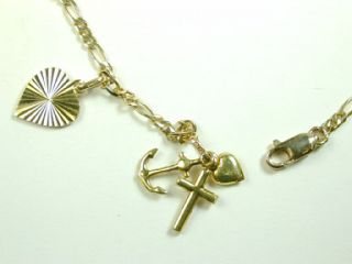 14k Solid Yellow Gold Charm Bracelet w Love Hope Charity Coke Bottle