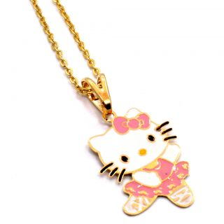 Gold 18K GF Enamel Hello Kitty Pink Ballerina Dance Girl Teens Pendant