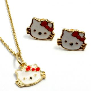 Bow Enamel Hello Kitty Gold 18k GF Baby Girl Earrings Peandant Charm