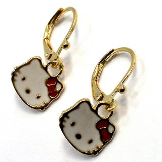 Gold 18K GF Earrings Red Enamel Hello Kitty Leverback Dangle Girl Kids