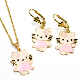 Gold 18K GF Pink Enamel Earrings Hello Kitty Girl Teens Pendant Charm