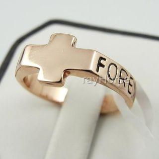 New 18K Gold Plated Forever Cross Ring 01 0043