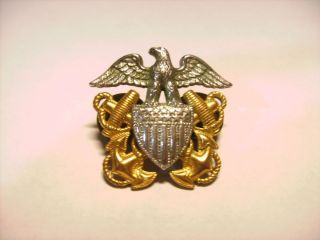 US Navy Eagle Anchor Hat Pin Badge Medal Sterling Silver Gold Filled